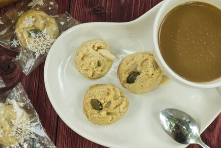 Mini Whole Grain Cookie with Coffee on the Table in the Morning.