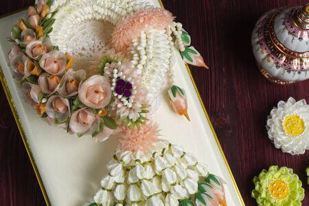 Beautiful Jasmine Garland on Wood Table. Various Colorful Asian Culture Handmade.