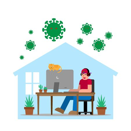 Relax Man Working at Home with His Cat Protected from COVID-19 virus. Quarantine and Protect Concept Flat Design.