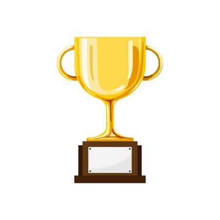 Simple Design Single Polished Golden Trophy on iSolated White Background.