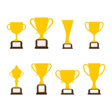 Simple Design Single Golden Trophy on iSolated White Background.