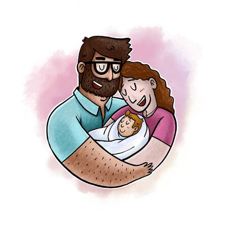 Lovely Beautiful Couple Holding Baby in Their Arms Simple Character Design.
