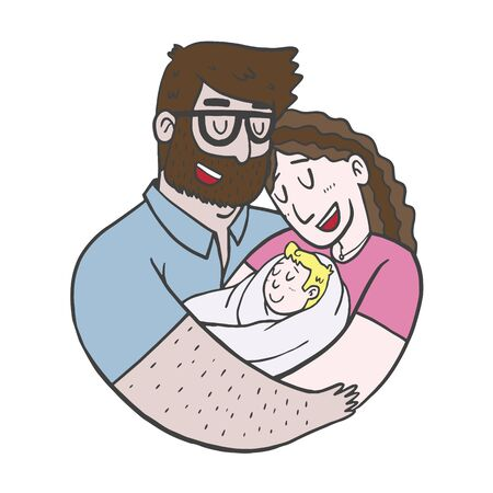 Lovely Beautiful Couple Holding Baby in Their Arms Simple Charcter Design. Ilustrace