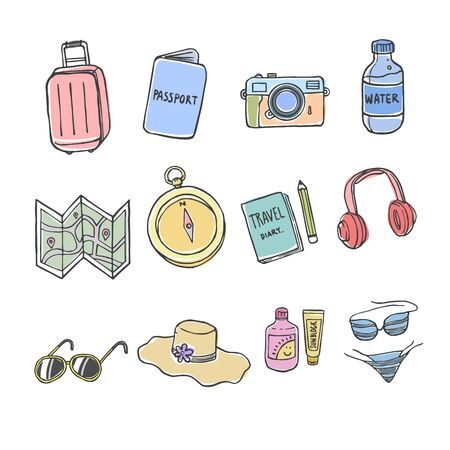Set of Doodles Holiday,  Travel iCon with Color on iSolated White Background. Ilustrace