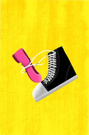 Male Sneaker Holding Female Shoe with Shoe lace. Concept iDea of Cute Lover Couple.