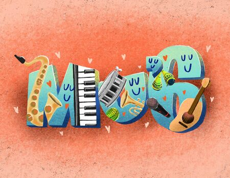 Various Music iNstruments in the Colored Pencils drawn cute Cartoon Style. Archivio Fotografico