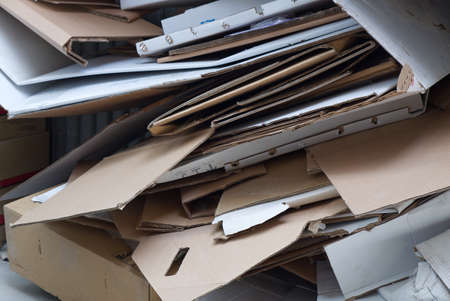 Recycle Corrugated Box Paper on the Floor for Recycle Process. 스톡 콘텐츠