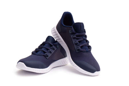 Pair of Dark Blue Sneaker on iSolated White Background.