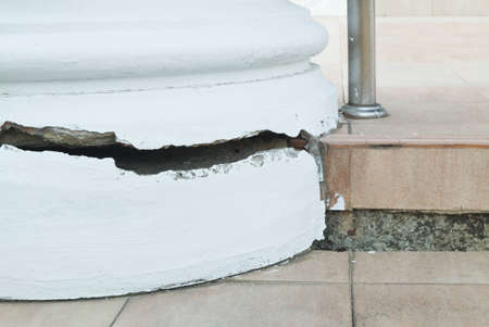 Cracks in the Concrete Pillar or Concrete Post Cracking, Danger Damage Construction.