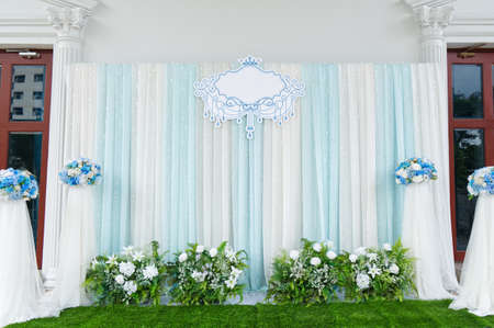 Beautiful Outdoor Wedding Backdrop Decoration in Wedding Ceremony Day. 스톡 콘텐츠