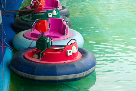 Bumper Boat in the Pool, Funny Activity in the Water Theme Park.