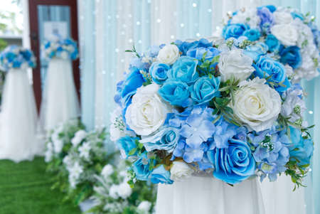 Beautiful Blue Wedding Ceremony Day Backdrop Decoration Outdoor.