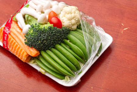 Various Vegetable in the Plastic Pack from Supermarket, Organic Raw Food with High Vitamin and Nutrition for Healthy Life.