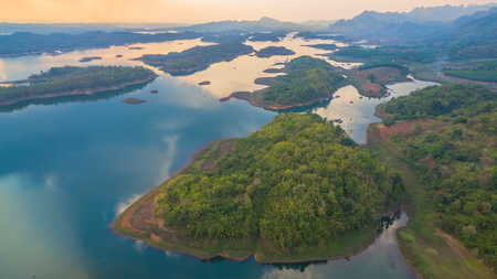 aerial photography at Pompee viewpoint it is on the way to Sangkhlaburi. Pompee is a part of Vajiralongkorn dam.when the sun go down to the lake it very beautiful.tourists come here for watch sunset. Stock Photo