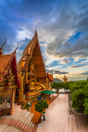 golden Buddha,chedi,temple,pagodas and  Thai architecture building on hilltop. the most beautiful top ten of temples in Thailand Stock Photo