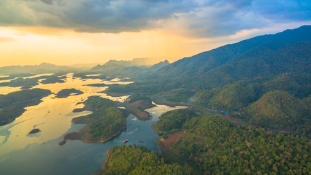 aerial photography at Pompee viewpoint.mountains around the Vajiralongkorn dam. Pompee is a part of Vajiralongkorn dam.when the sun go down to the lake it very beautiful.