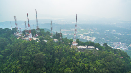 pollution of smoked cloud from wild fire in Sumatra island Indonesia cover radio and television Station on the Mountain and all southern of Thailand.