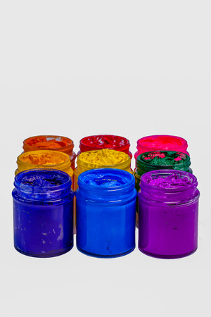 colorful of Plastisol ink in glass bottles.Plastisol ink useful for print tee shirt