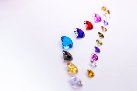 colorful diamonds in white flannel on the ice smoke Standard-Bild