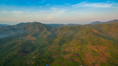 aerial photography landscape of Thanlod Yai cave to Thanlod Noi cave between two caves there have many waterfall along the way water from Thanlod Yai cave pass in to Than Lod Noi cave Stockfoto