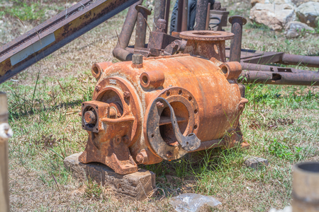 Pump machine Trucks Used in mining. Was set up in the lawn. Of these, some of us do not use rusty pieces. Stock Photo