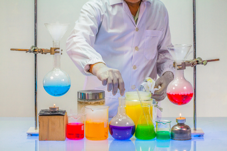 A scientist testing in laboratory experiments in chemical blending