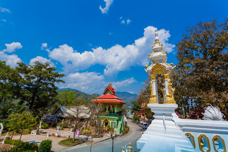 pagoda and Buddha statues in Wat Prathat Doi Wao at Mae Sai Chiang Rai Thailand. border crossing from Mai Sai to Tachilek Myanmar.