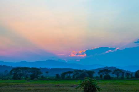 light through the cloud above the high mountain in Chiang Rai Thailand. Stok Fotoğraf