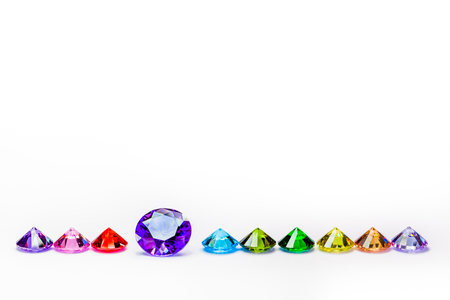 colorful diamonds in white background with copy space Stock Photo