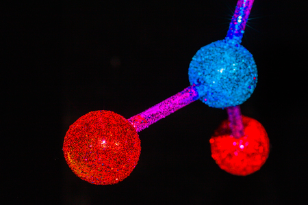 Lab experiments atom or molecule structure of Barium Nitrate with chemical formula Ba(NO3)2 in black background with copy space Stock Photo