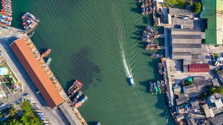 aerial view the canal split at Phuket Fishing Port and and Phuket shipyard Stock Photo