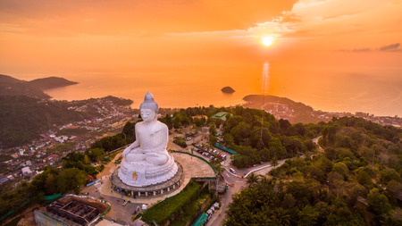 aerial view sweet sunset at Phuket big Buddha. Phuket Big Buddha statue is one of the island most important and revered landmarks on the island.