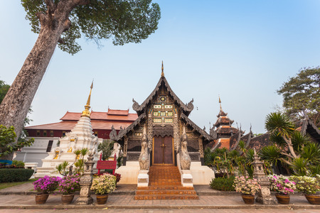 the old pavillion at Wat Chedi Luang Chiang Mai at Wat Chedi Luang Chiang Mai most important temples is the Wat Chedi Luang located in the ancient walled part of the city. 写真素材