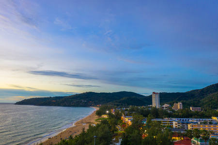 aerial view sunset at Karon beach Phuket Thailand