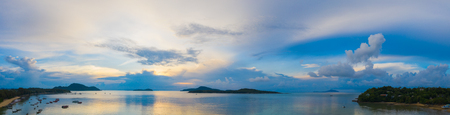 panorama blue sky sunrise at Rawai beach Phuket Thailand