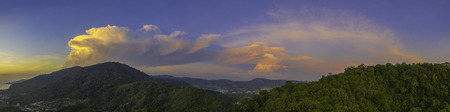 aerial view scenery sunset red cloud in blue sky above Patong mountain