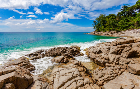 beautiful natural rock above Naithon beach. Naithon Beach is a quiet beach holiday at a mostly natural sandy beach with a relaxed atmosphere Stok Fotoğraf