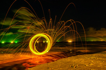 steel wool on the beach look like smiling face