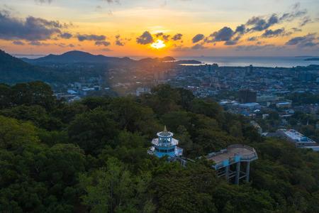 aerial view Khao Rang viewpoint landmark of Phuket city locate on the top of Khao Rang mountain in the middle of Phuket city.on Khao Rang viewpoint can see around Phuket city