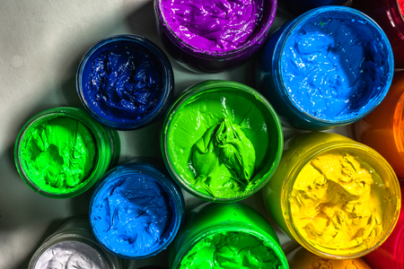photography top view of colorful ink for print tee shirt.factory. Plastisol ink useful in tee shirt factory and in industry Stock Photo