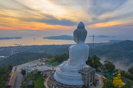 aerial view sunset at Phuket big Buddha viewpoint. Phuket Big Buddha is one of the island most important and revered landmarks on Phuket island.