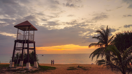 sunset at Karon beach.Karon beach is a beach is broad and long. Sand and beautiful beach suitable for swimming and used as a training dive.Karon beach have many kind of water sports Stock fotó