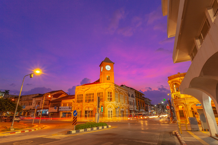sunset above Charter intersection there have the antique architect in the middle of Phuket city.