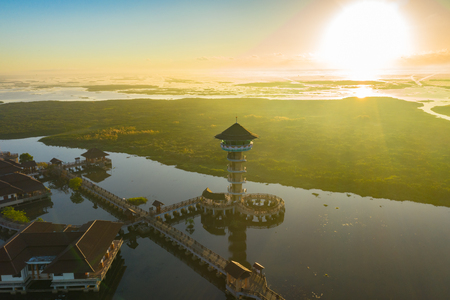aerial view above Thale Noi bird watching tower in Phatthalung. Thale Noi is the second of largest lake in Thailand. the lake is an abundant food a source for waterfowl habitat a source of sea food. Banco de Imagens
