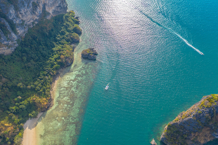 aerial top view strait between the Poda island and Ma Tang Ming island in Krabi