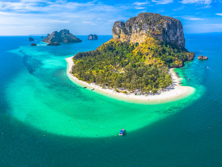 aerial photography Koh Poda is one the most popular islands in Krabi archipelago. 免版税图像