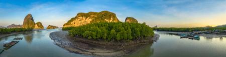 aerial panoramic photography above Samed Nangshe archipelago at Baanhinrom Phang Nga Thailand. Stok Fotoğraf