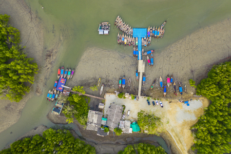 aerial top view Baan Hinrom pier in mangrove forest at Samed Nangshe archipelago in Phang Nga Thailand 版權商用圖片 - 119879360
