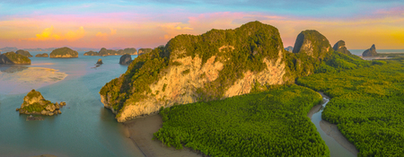 aerial panorama view sunset at Samed Nangshe archipelago new famous viewpoint in Phang Nga Thailand