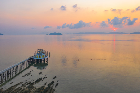 aerial view sunrise at pier of Phayam temple one landmark of Phayam island. Phayam temple is on Hin Kao gulf. 